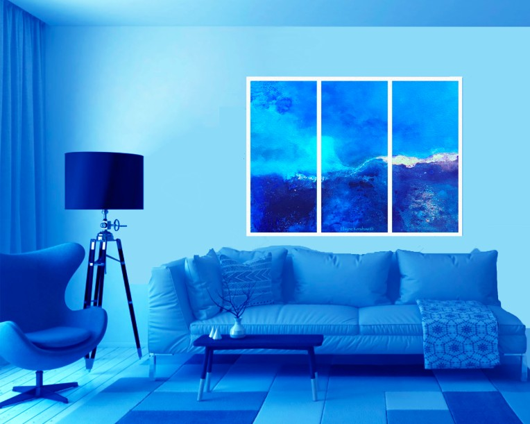 Blue Seas Tryptych in a Blue Room