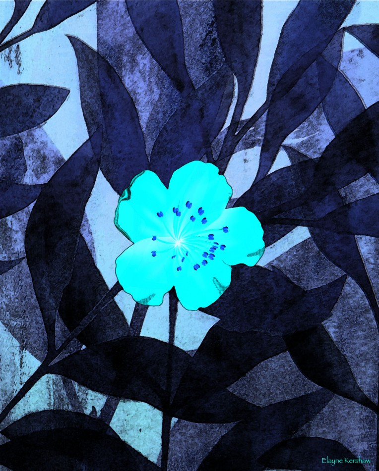 Turquoise Flower on Indigo Leaf